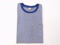 フィルメランジェ  HODGEボーダー ポケットTシャツ  melange/blue