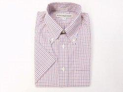 画像1: インディビジュアライズドシャツ S/S  グラフチェック    ホワイト×ネイビー×レッド