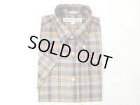 インディビジュアライズドシャツ  S/SプルオーバーBDシャツ   モスグリーン×ネイビー