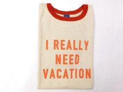 画像1: グッドオン  半袖リンガープリントTシャツ   NEED VACATION     オレンジ