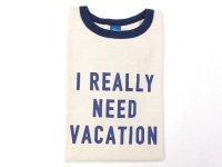 グッドオン  半袖リンガープリントTシャツ   NEED VACATION     ネイビー