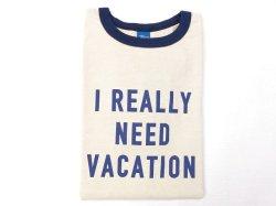画像1: グッドオン  半袖リンガープリントTシャツ   NEED VACATION     ネイビー