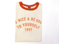 画像1: グッドオン  半袖リンガープリントTシャツ   BE NICE    オレンジ