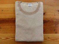 ジチピ     S/SクルーネックTシャツ    ベージュ×ホワイト