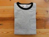 フェルコ 半袖クルーネックリンガーTシャツ   H.グレー×ブラック
