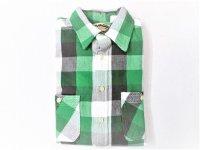 CAMCO フランネルシャツ  ブロックチェック  ホワイト×グリーン×ブラック